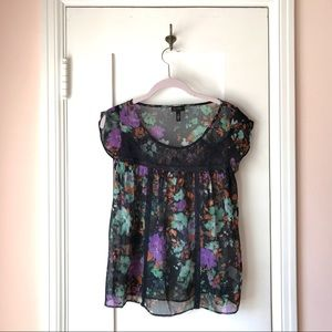 JESSICA SIMPSON  Sheer Black Floral Top Small